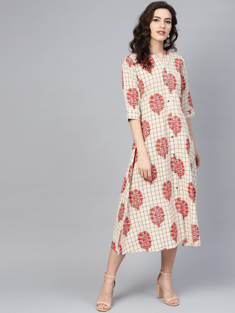 Multi Cotton Printed Aline Maxi Dress