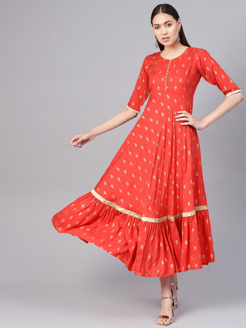 Red Rayon Colourblocked Anarkali Dress