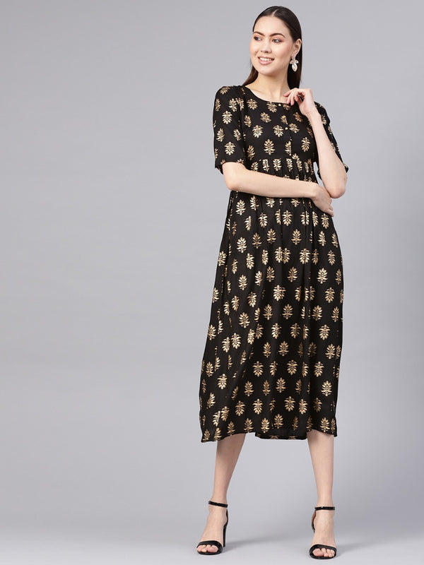 Black Rayon Block Printed Fit And Flared Maxi Dress