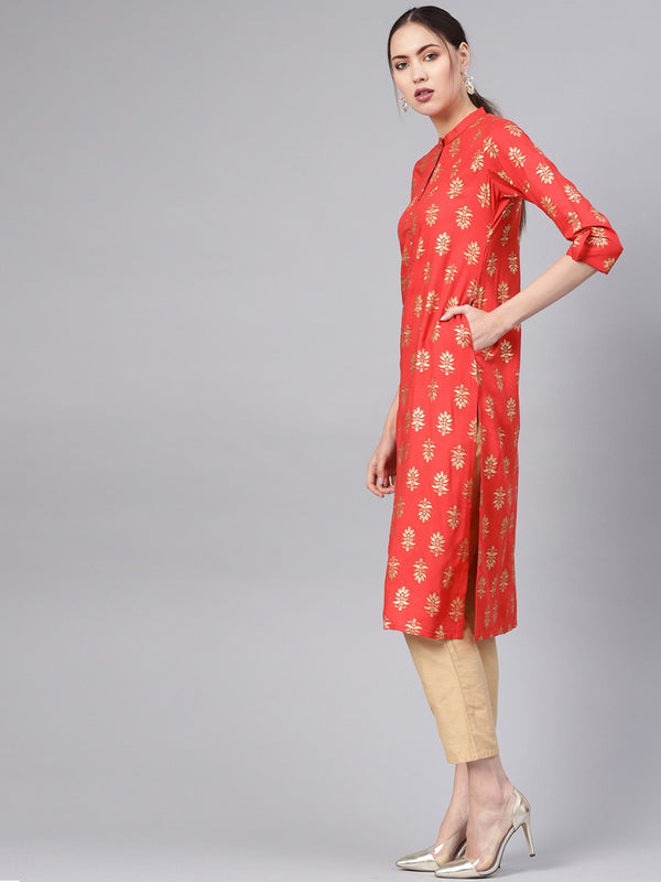 Red Rayon Block Printed Straight Kurta