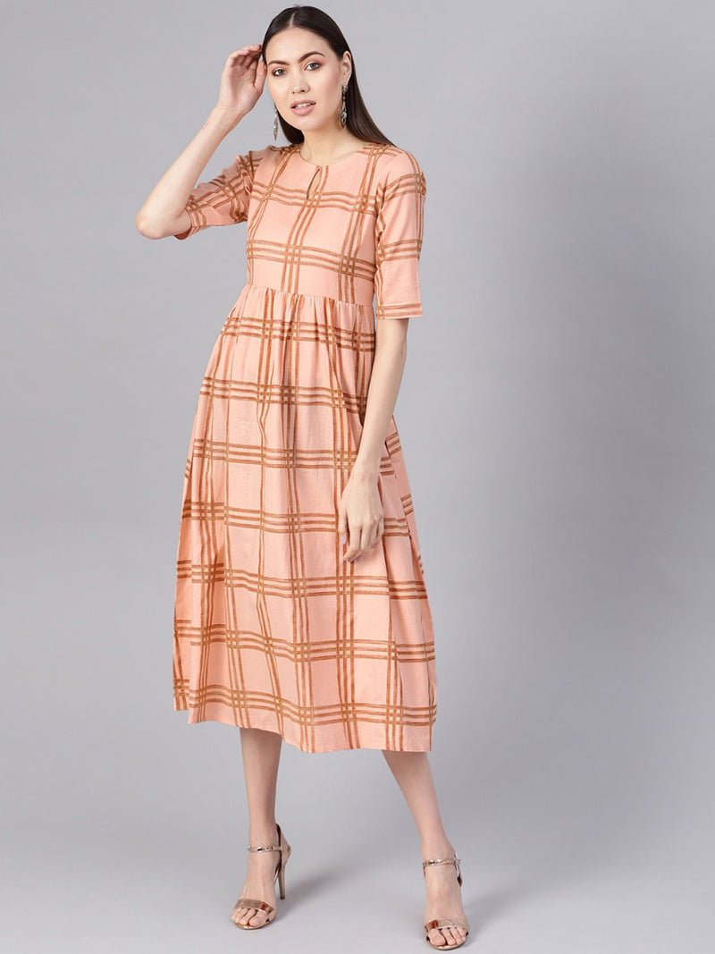 Pink Cotton Checkered Fit And Flared Maxi Dress
