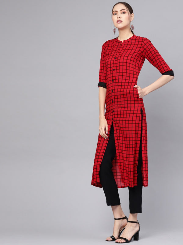 Red Rayon Checekered Straight Kurta