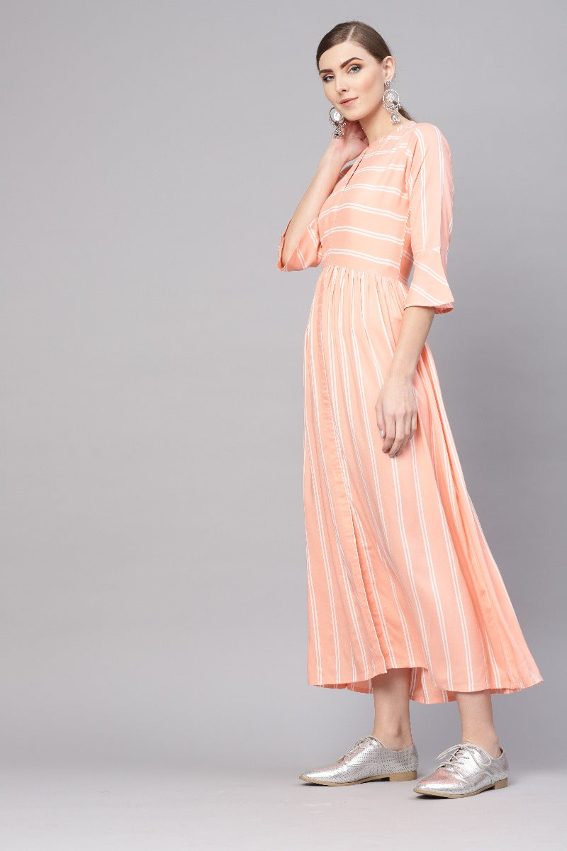 Orange Rayon Striped Fit And Flared Maxi Dress