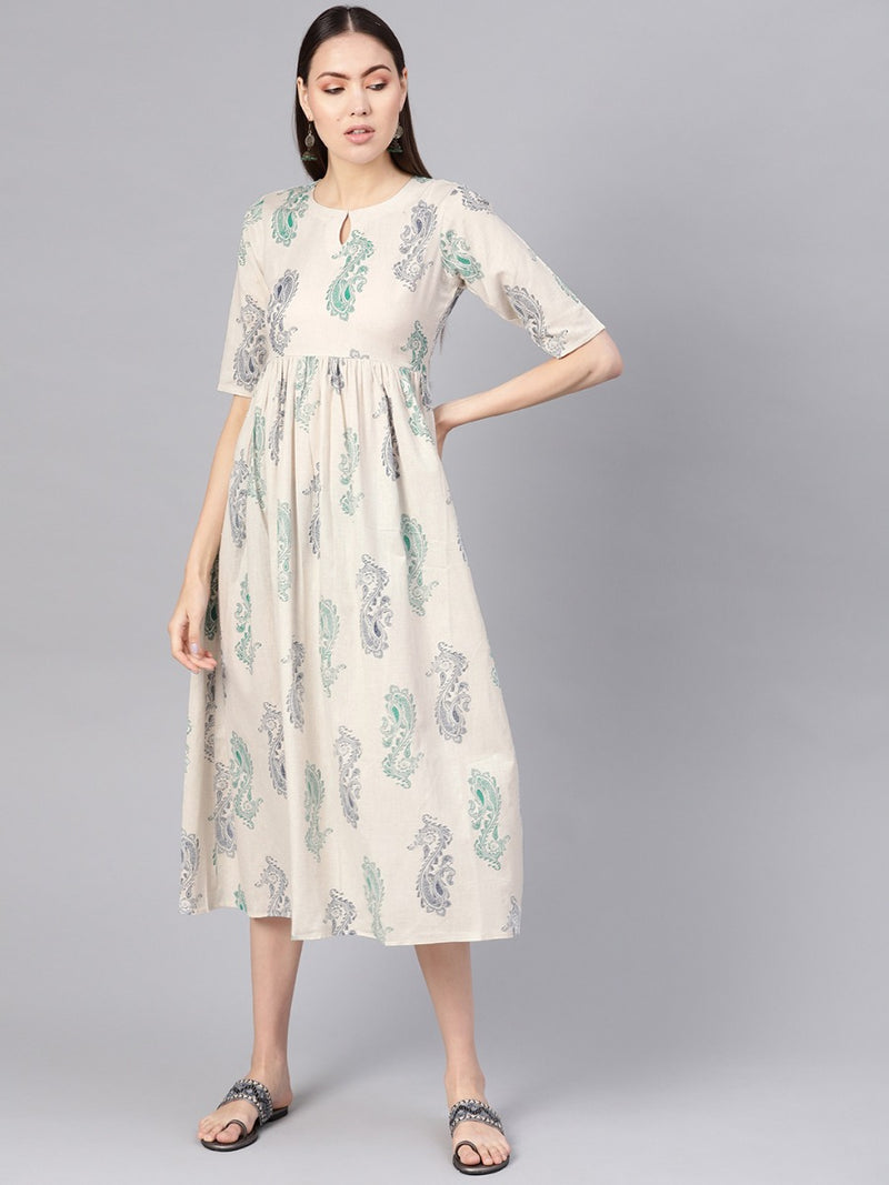 White Cotton Block Printed Fit And Flared Maxi Dress