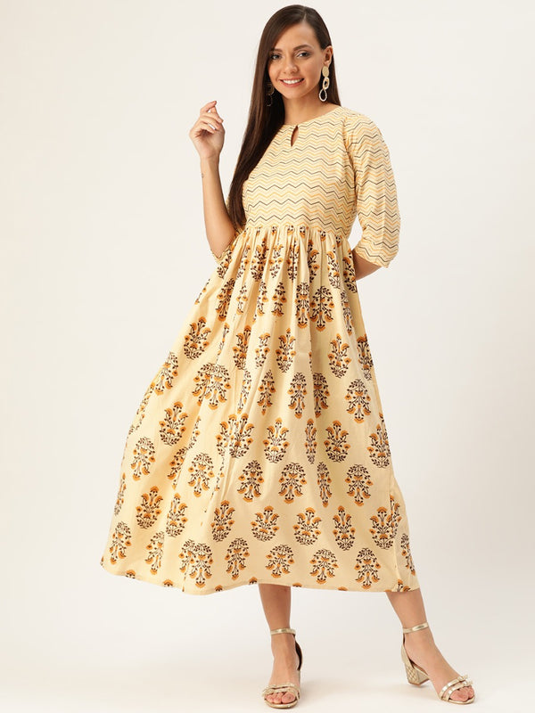 Beige Block Printed Fit And Flared Dress