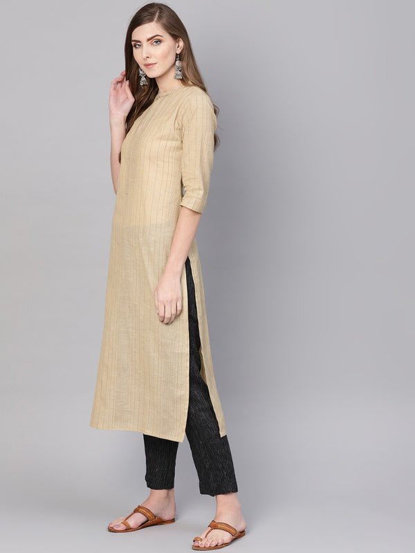 Beige Cotton Self Striped Straight Kurta