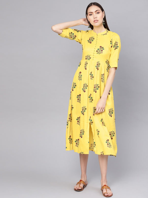 Yellow Cotton Printed Fit And Flared Maxi Dress