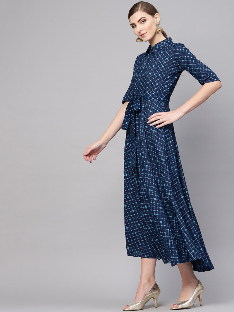 Blue Cotton Printed Aline Flared Maxi Dress With Belt
