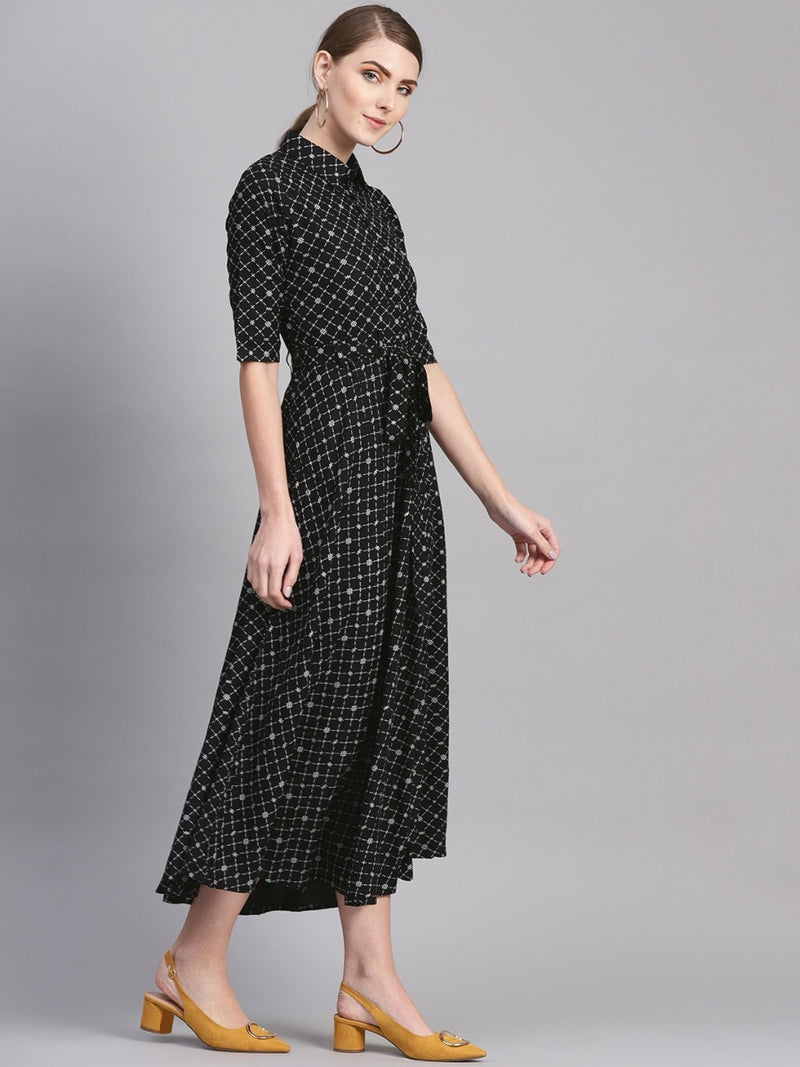Black Cotton Printed Aline Flared Maxi Dress With Belt