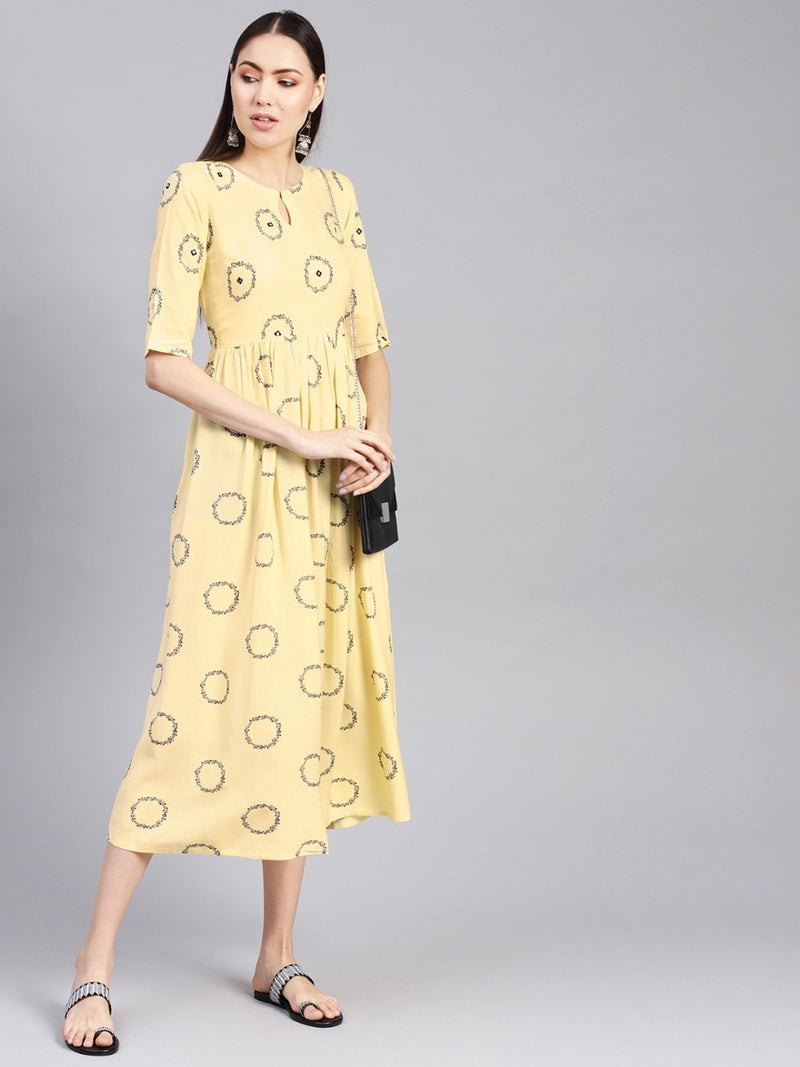 Yellow Rayon Printed Aline Fit And Flared Maxi Dress