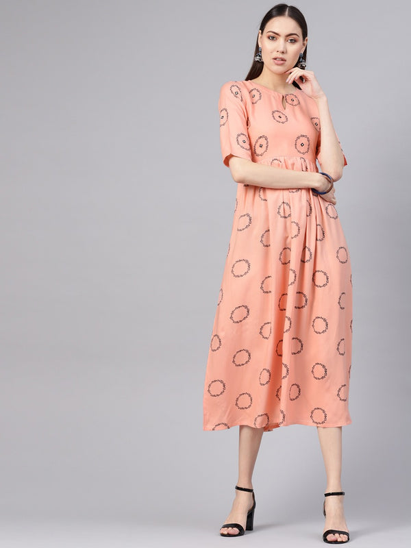 Pink Rayon Printed Aline Fit And Flared Maxi Dress