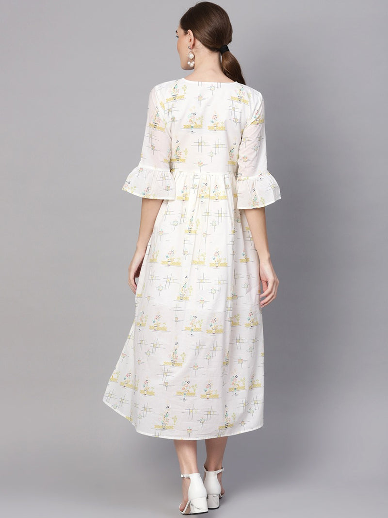 White Cotton Printed Fit And Flared Maxi Dress