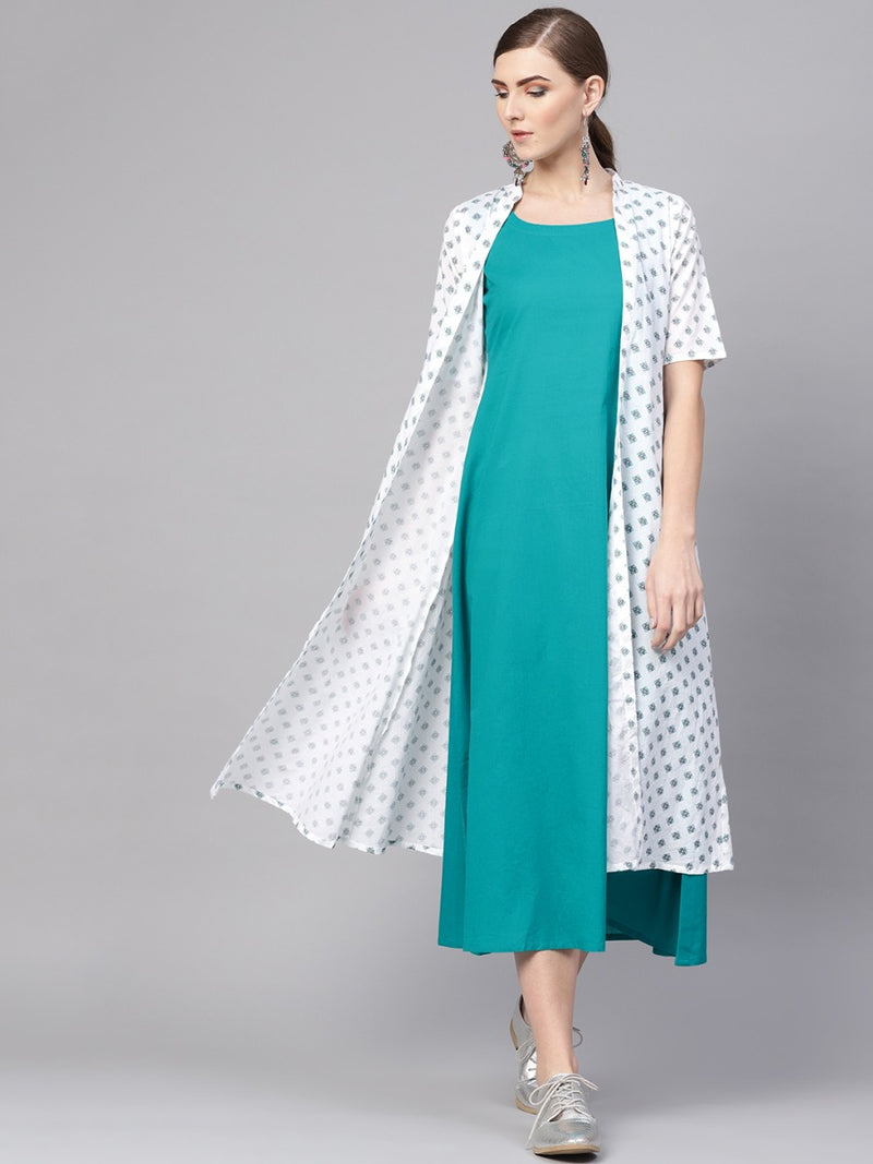 Blue Cotton Solid Aline Maxi Dress With White Cotton Printed Long Ethnic Shrug