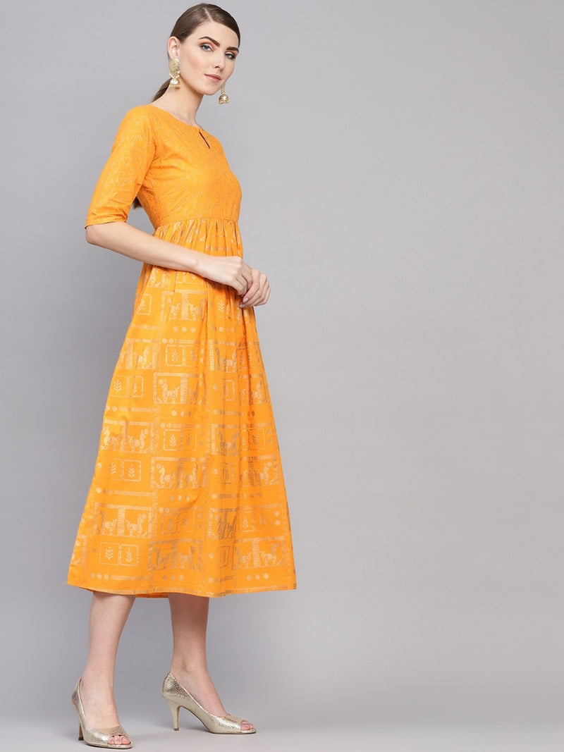 Yellow Cotton Block Printed Fit And Flared Maxi Dress