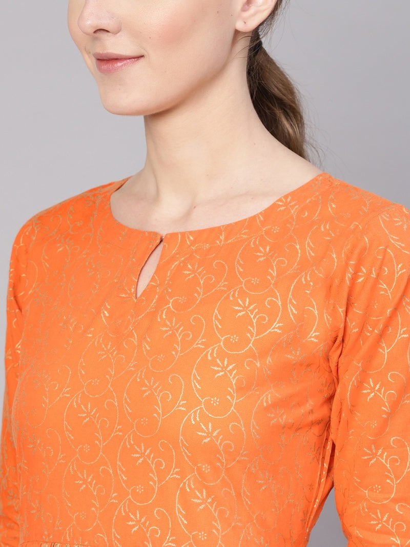 Orange Cotton Block Printed Fit And Flared Maxi Dress