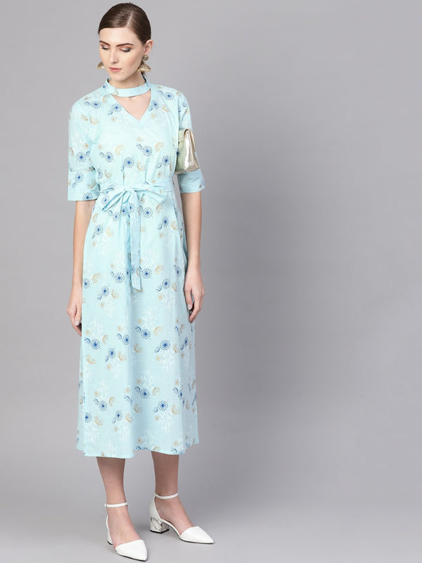 Blue Cotton Printed A-line Flared Maxi Dress