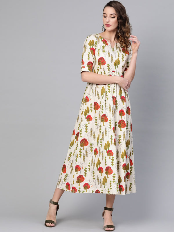 Multi Cotton Printed Fit And Flared Maxi Dress