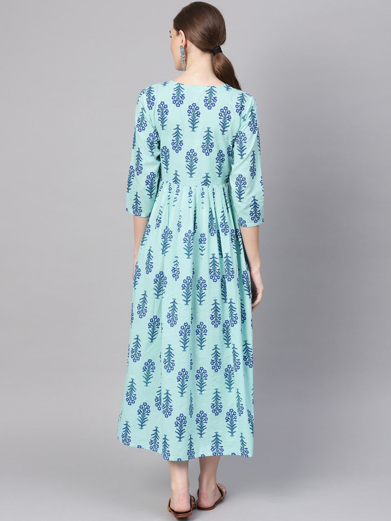 Blue Cotton Printed Fit And Flared Pleated Maxi Dress