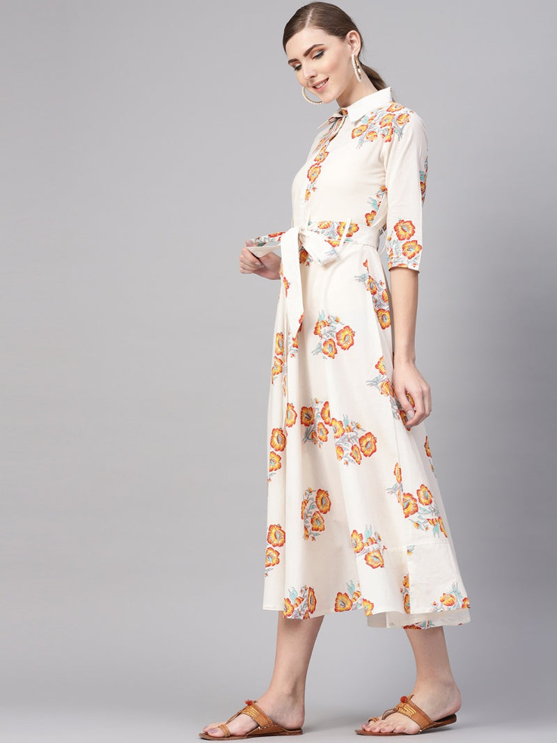 White Cotton Printed A-line Flared Maxi Dress