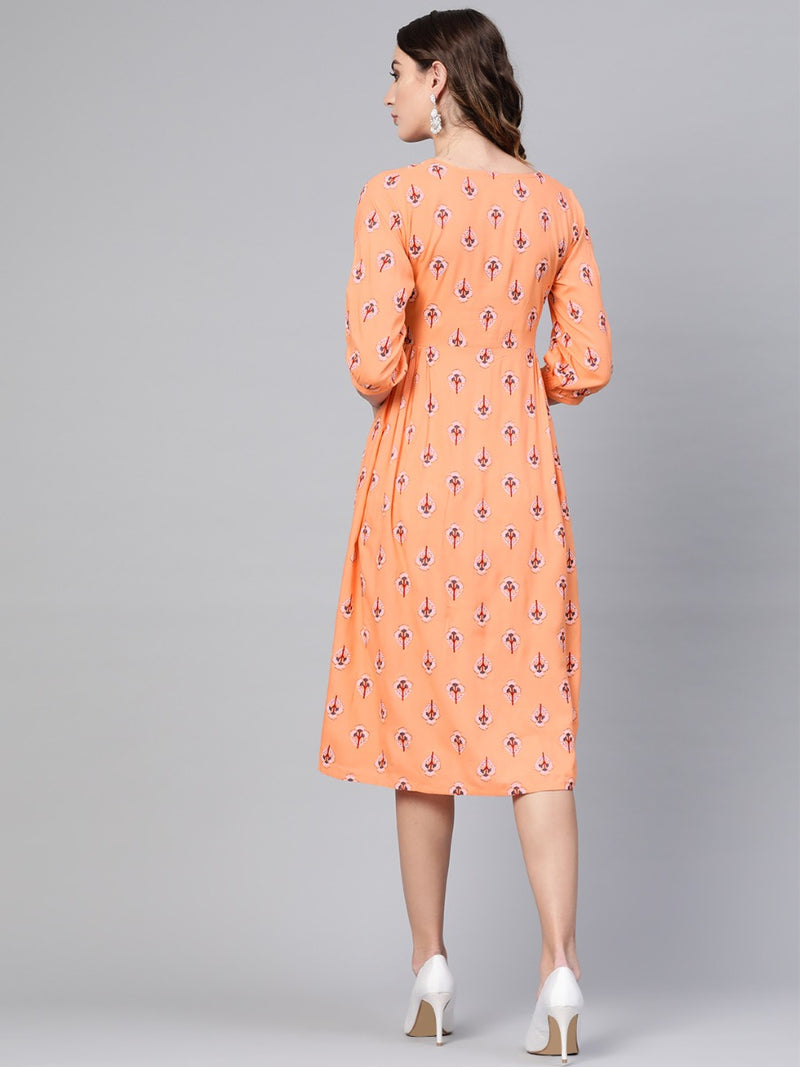 Orange Rayon Printed Fit And Flared Maxi Dress