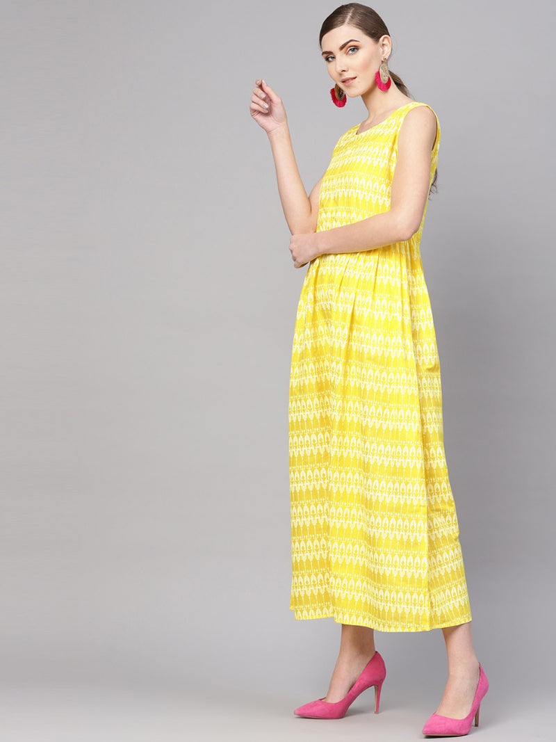 Yellow Cotton Printed Jumpsuit style Dress