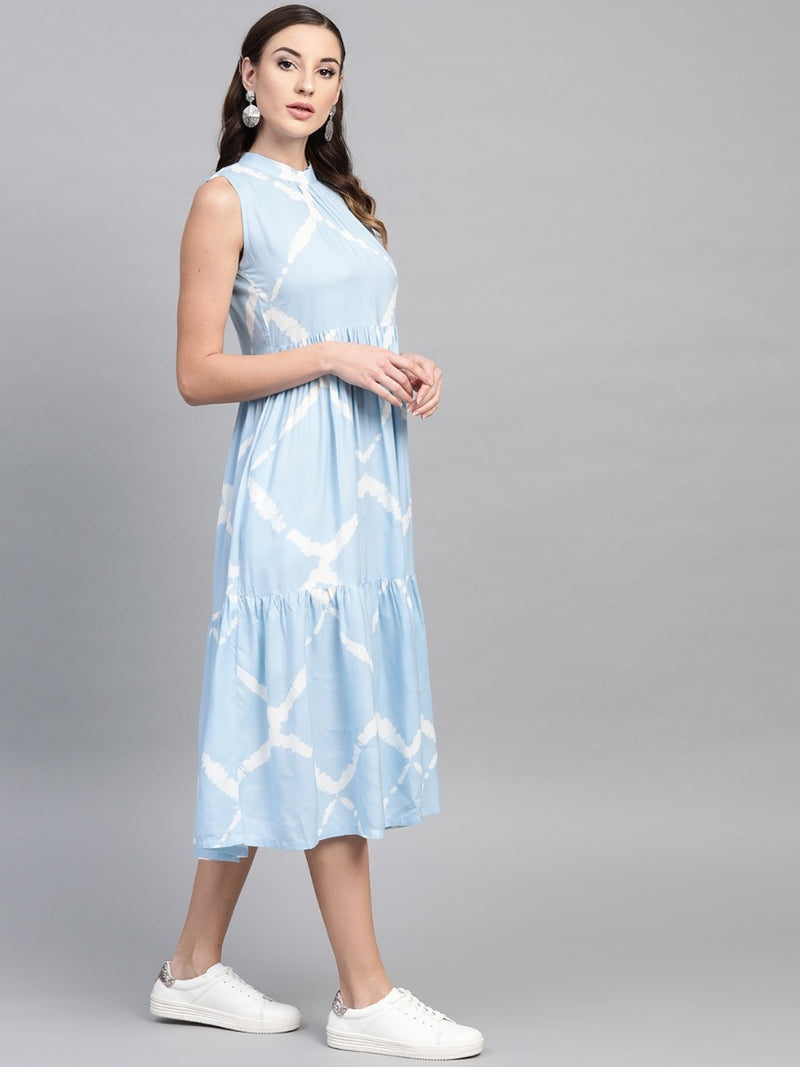 Blue Rayon Dyed Fit And Flared Maxi Dress