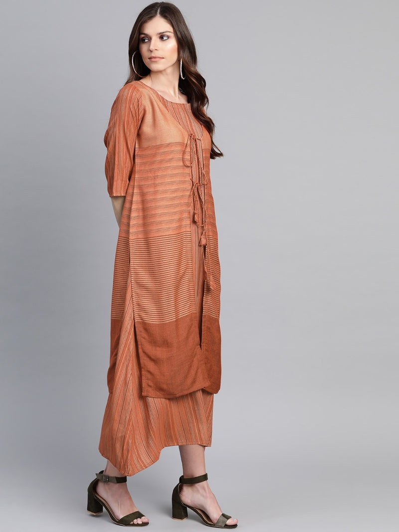 Rust Rayon Striped Dress With Long Ethnic Shrug