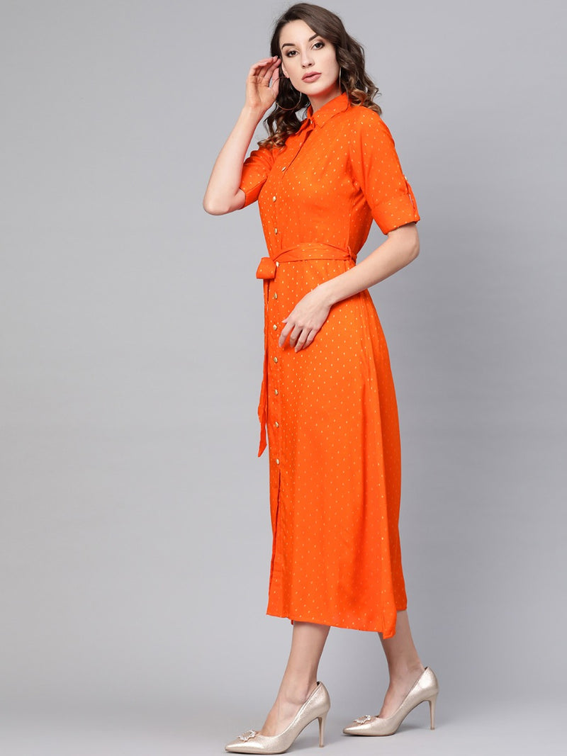 Orange Rayon Printed A-line Maxi Dress With Belt