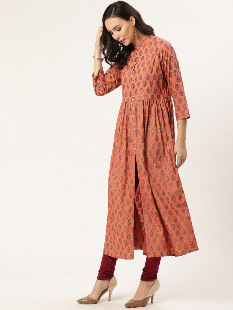 Orange Block Printed Fit And Flared Dress