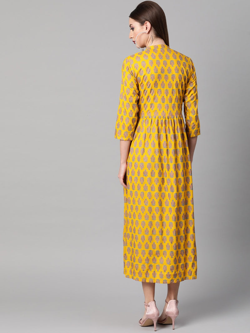 Yellow Rayon Fit And Flared Maxi Dress