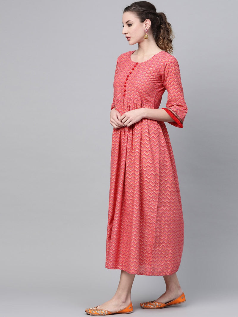 Pink Cotton Colorblock Fit And Flared Maxi Dress