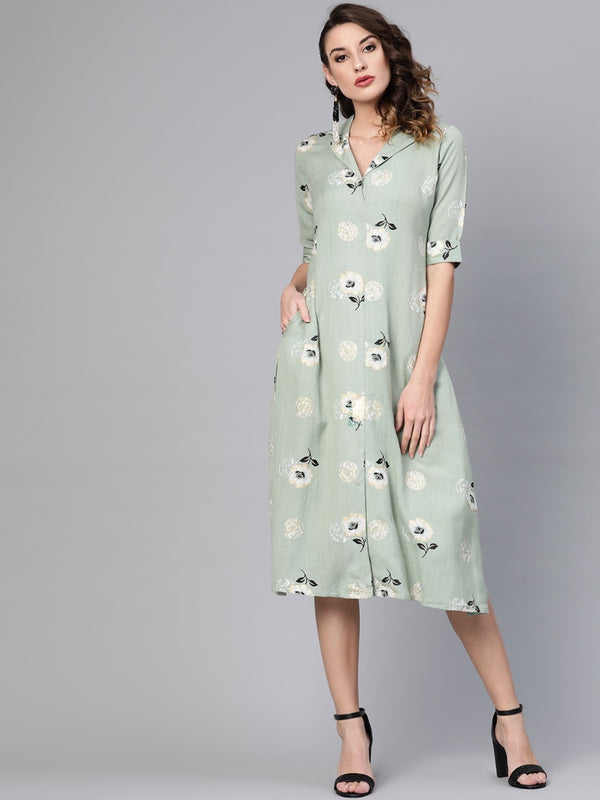 Green Rayon Printed A-Line Maxi Dress With Both Side Pocket