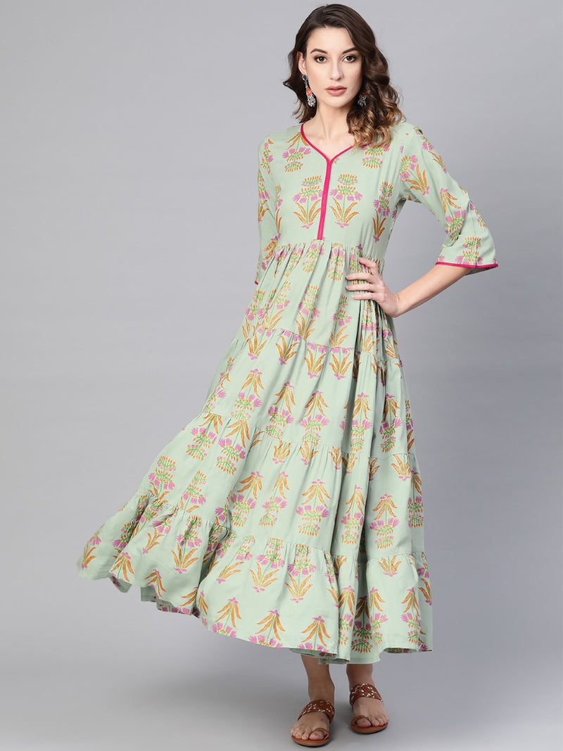 Green Rayon Printed Fit And Flared Maxi Dress