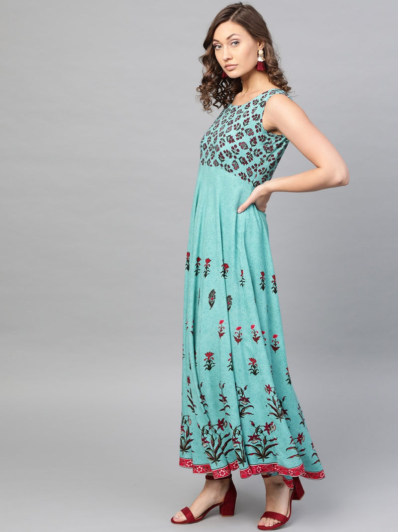 Blue Rayon Printed A-line Fit And Flared Maxi Dress