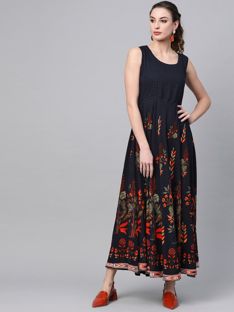 Navy Blue Rayon Printed A-line Maxi Dress