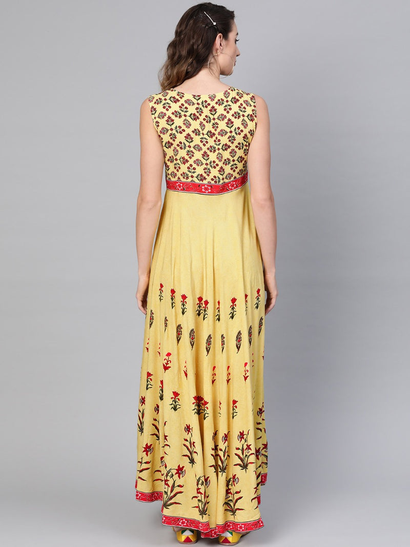 Yellow Rayon Printed A-line Fit And Flared Maxi Dress