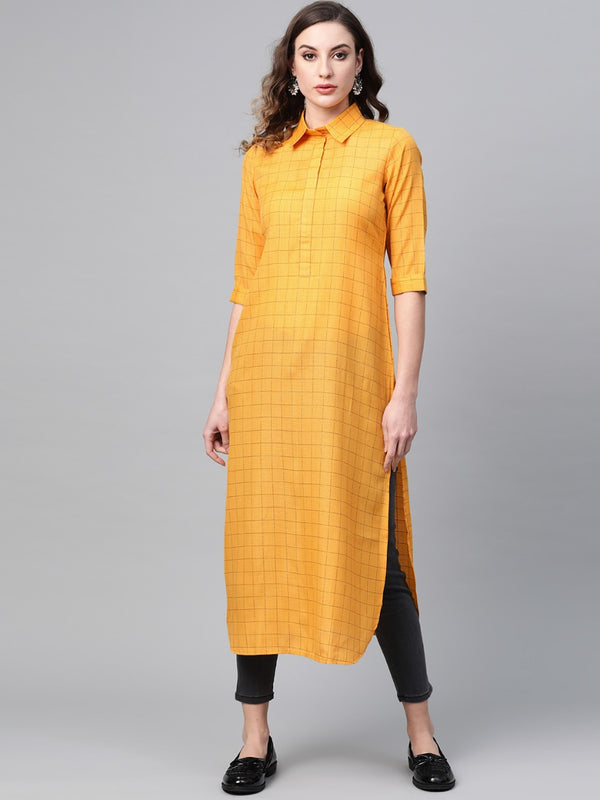Yellow Cotton Checkered Pathani Kurta
