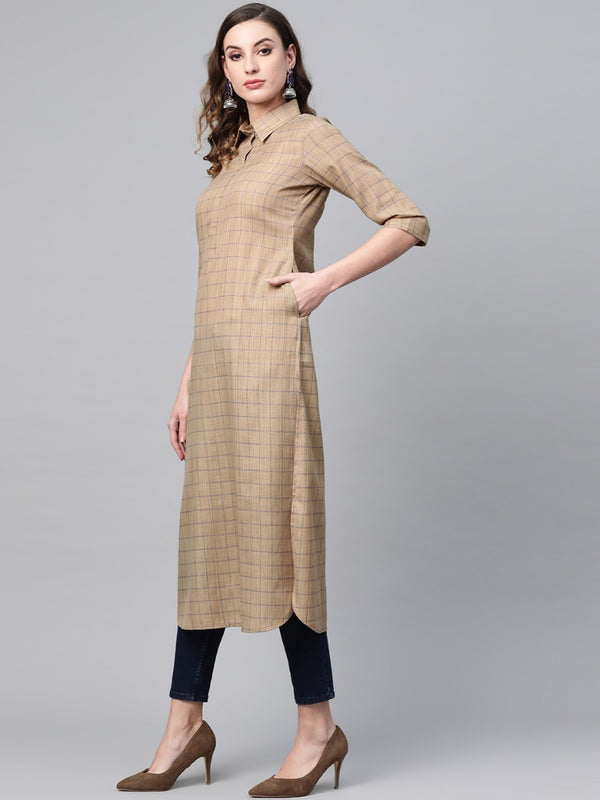 Beige Cotton Checkered Pathani Kurta