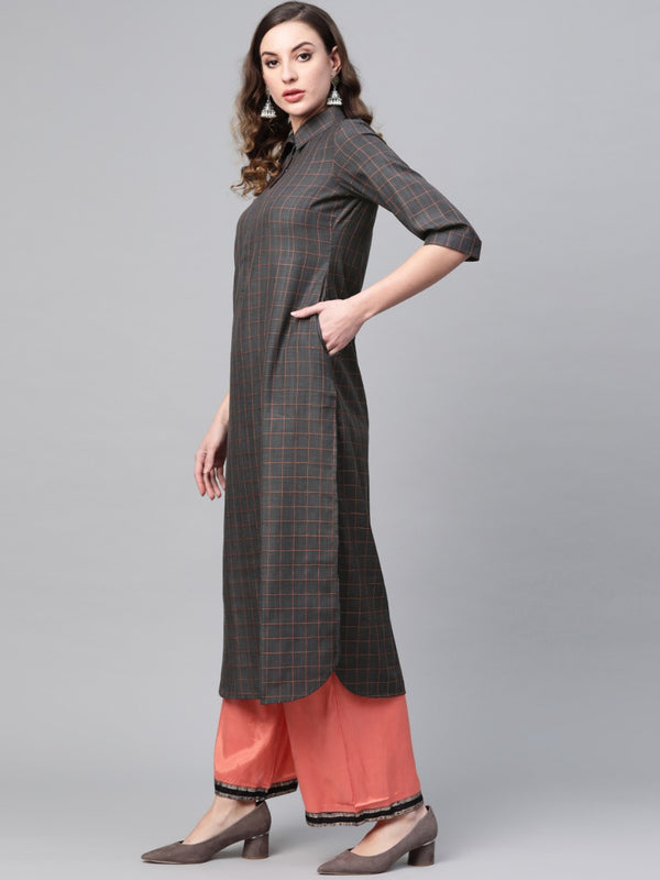 Charcoal Grey Cotton Checkered Pathani Kurta