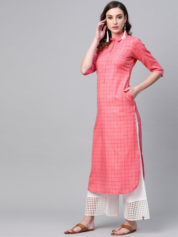 Pink Cotton Checkered Pathani Kurta