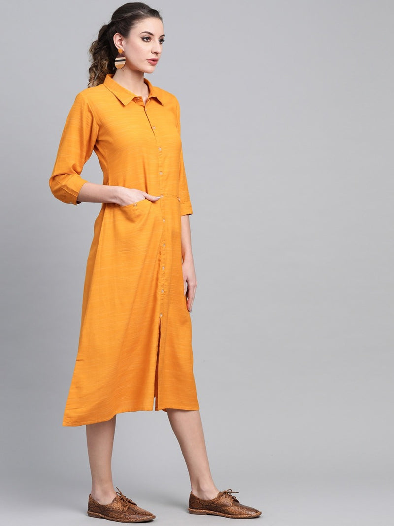 Yellow Rayon Solid Maxi Dress