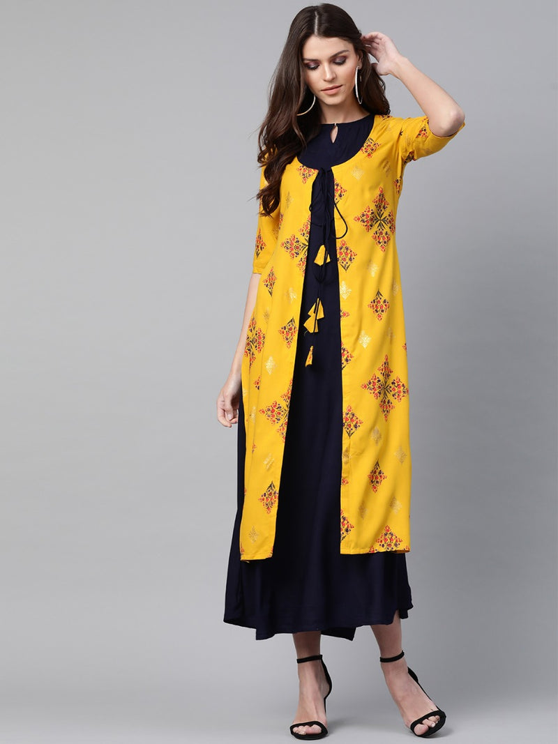 Blue Rayon Solid Maxi Dress With Long Ethnic Shrug