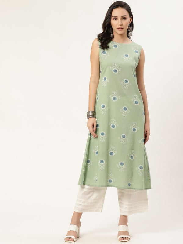 Green Cotton Printed A-line Kurta