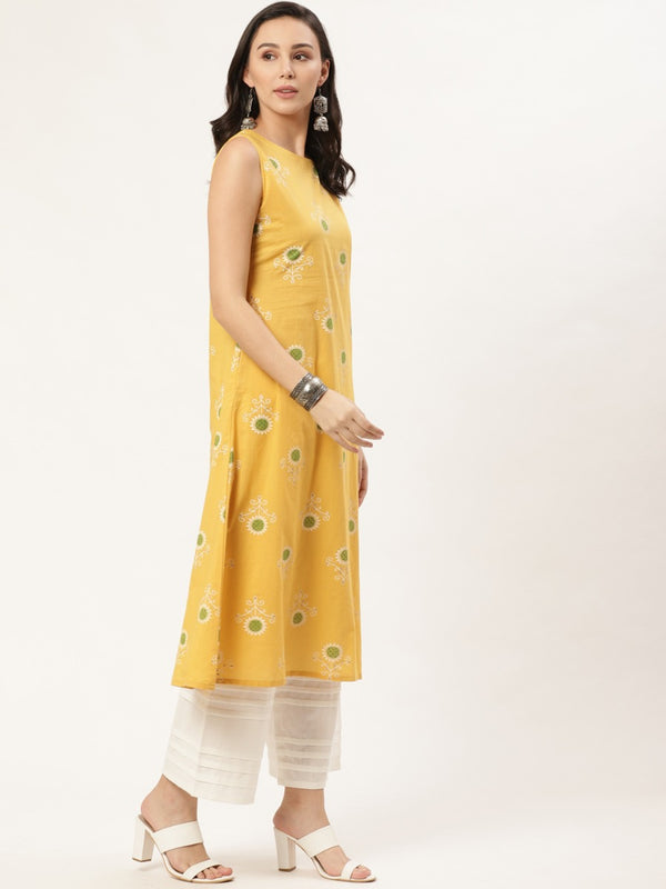 Yellow Cotton Printed A-line Kurta
