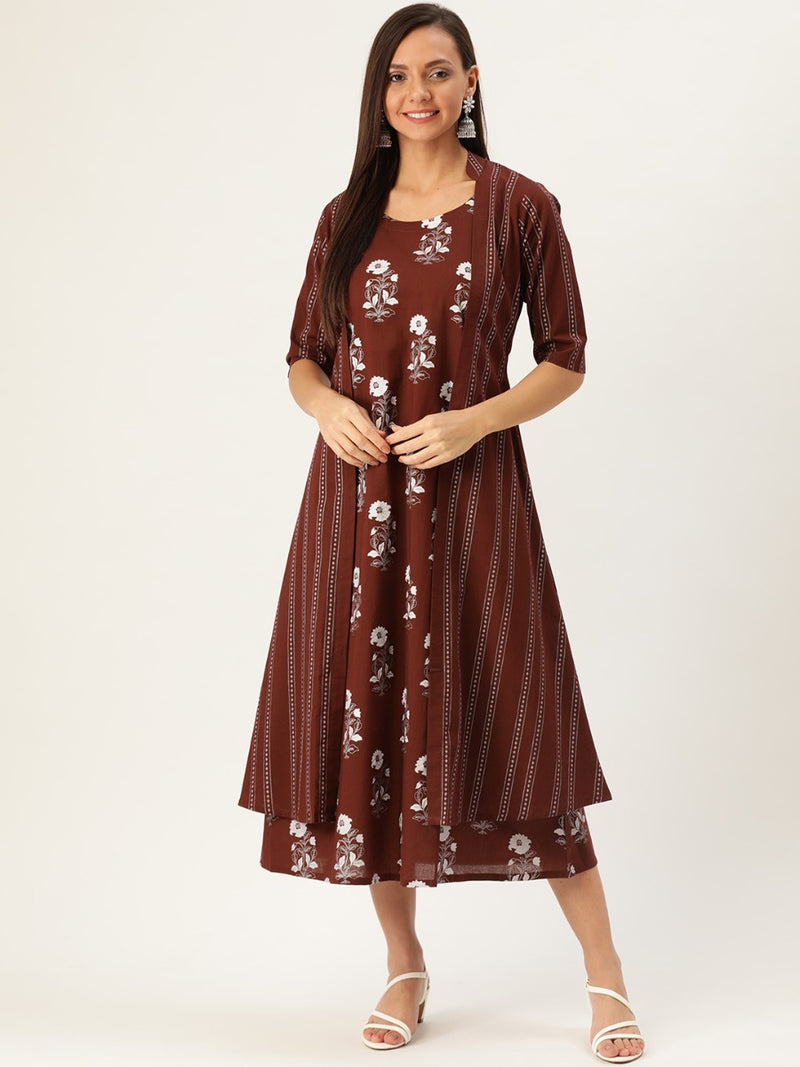 Brown Printed Maxi Dress With Ethnic Shrug
