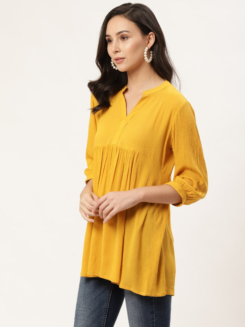 Yellow Solid Short Kurti With Mask