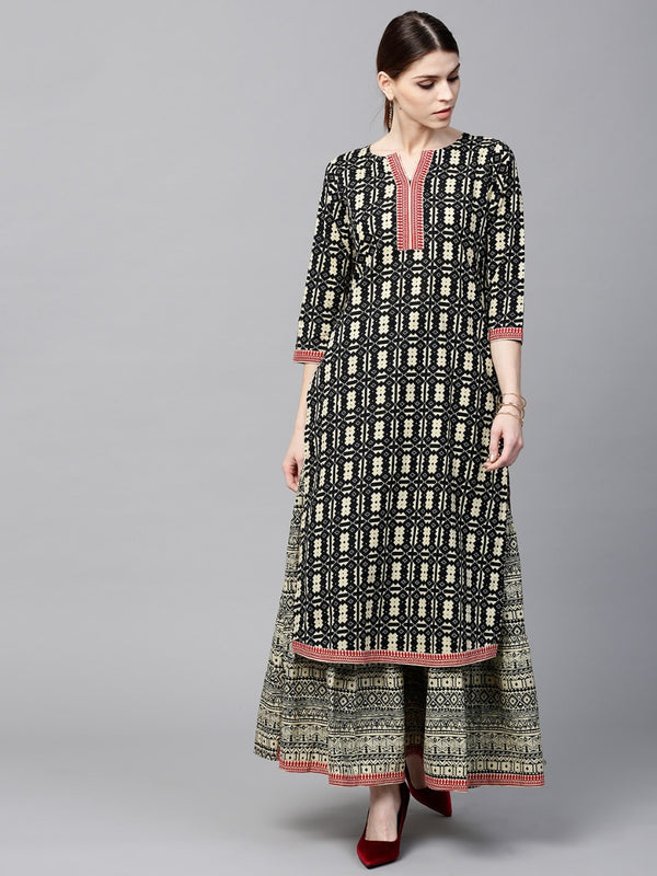Black Cotton Printed Straight Kurta With Cotton Printed Skirt