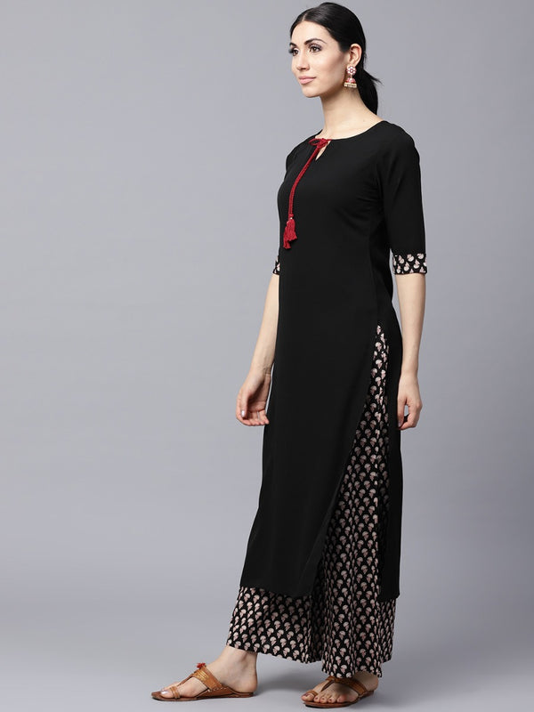 Black Crepe Solid Straight Kurta With Cotton Printed Palazzo
