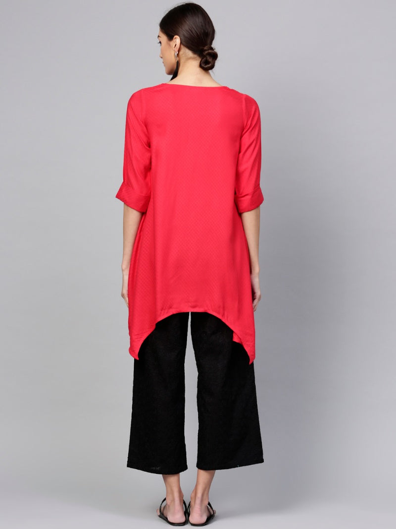 Red Rayon Solid Aline Kurta With Black Chikan Palazzo