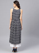 Blue Rayon Printed Aline Kurta With White Solid Palazzo
